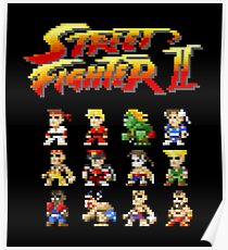 Street Fighter 2 Characters Pixel Art Poster