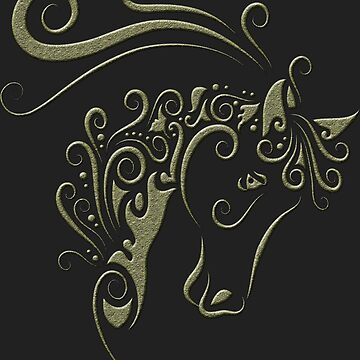 Horse Head With Curl Floral Ornament Decoration by 700level