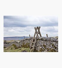 Wooden ladder on stone wall. Photographic Print