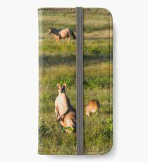 Wallabies in farmer's field iPhone Wallet/Case/Skin