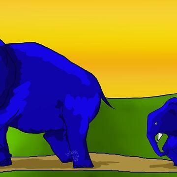 Elephant Sunset by hillyhale