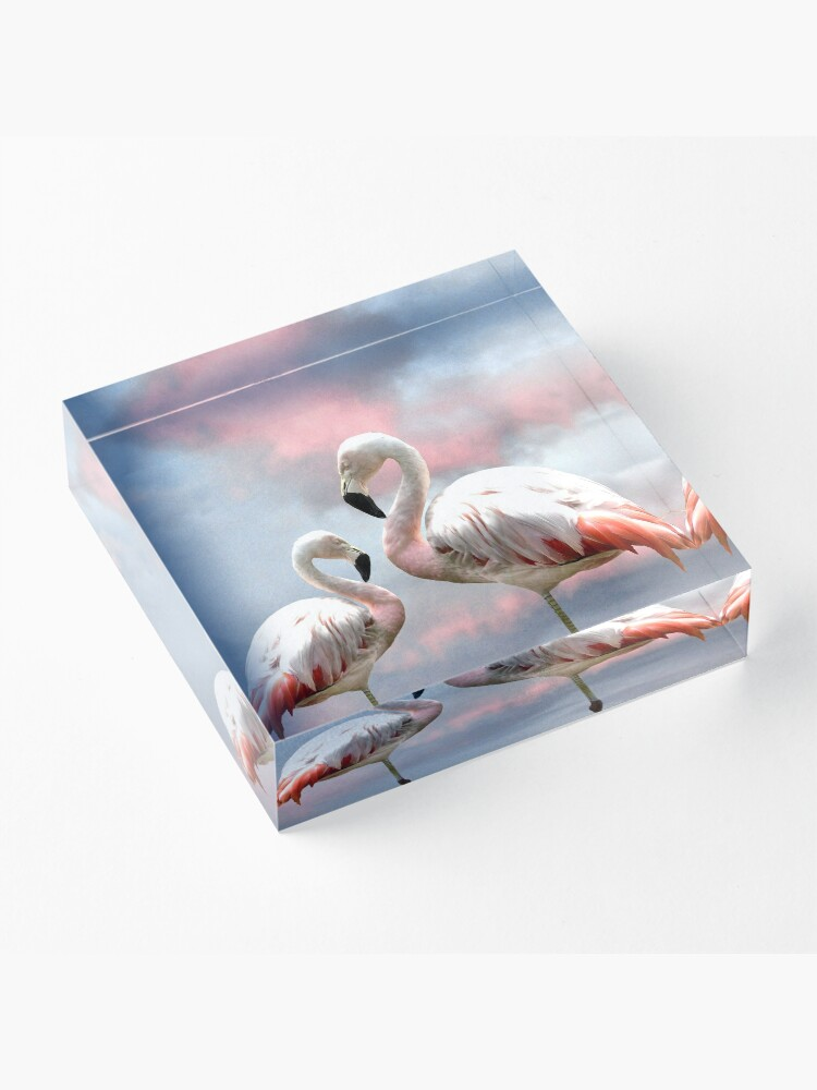 Alternate view of Flamingo Sky sunset birds Acrylic Block