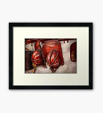 Fireman - Hat - Old fashioned fire hats  Framed Print
