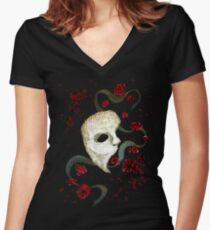 Phantom of the Opera Mask and Roses Women's Fitted V-Neck T-Shirt
