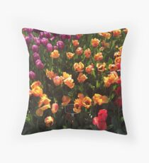 Multicolored Tulip Blooms Throw Pillow