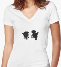 Cosmo and Wanda - Black and White Women's Fitted V-Neck T-Shirt
