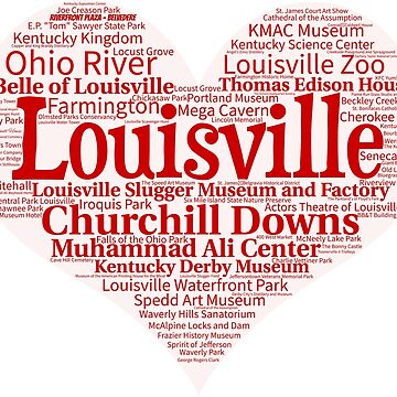 Heart of Louisville Red Heart Word Cloud Products by Mel747