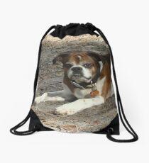 Meet Popeye - my new old dog Drawstring Bag
