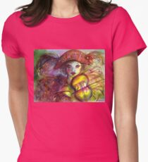VENETIAN MASQUERADE / HARLEQUIN PLAYING VIOLIN  Womens Fitted T-Shirt