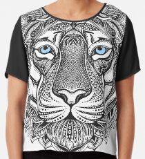 Sibirischer Tiger mit blauen Augen in einem Zentangle Design Chiffontop
