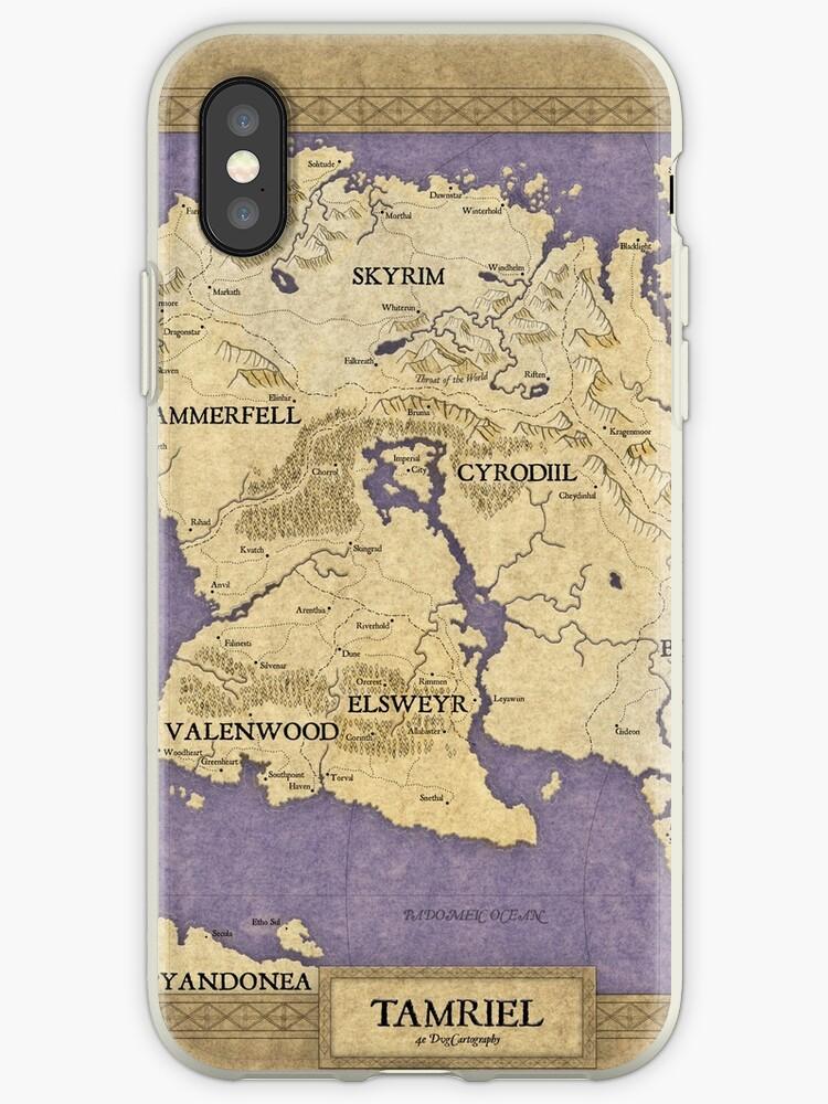 \'Elder Scrolls map - Tamriel\' iPhone Case by dvg94