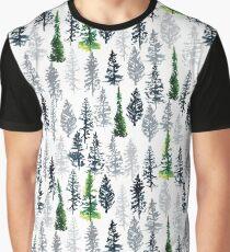 Fir Trees Pattern Graphic T-Shirt