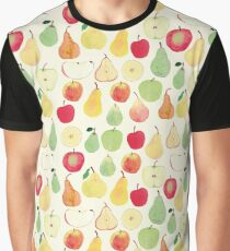 Watercolour Apples and Pears Pattern Graphic T-Shirt