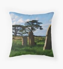 Grave stones and view from Easton Maudit church Throw Pillow