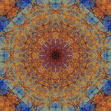 Intricate Boho Blue and Rust Lacy Kaleidoscope Mosaic by jocelynsart