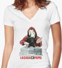La Casa de Papel Women's Fitted V-Neck T-Shirt