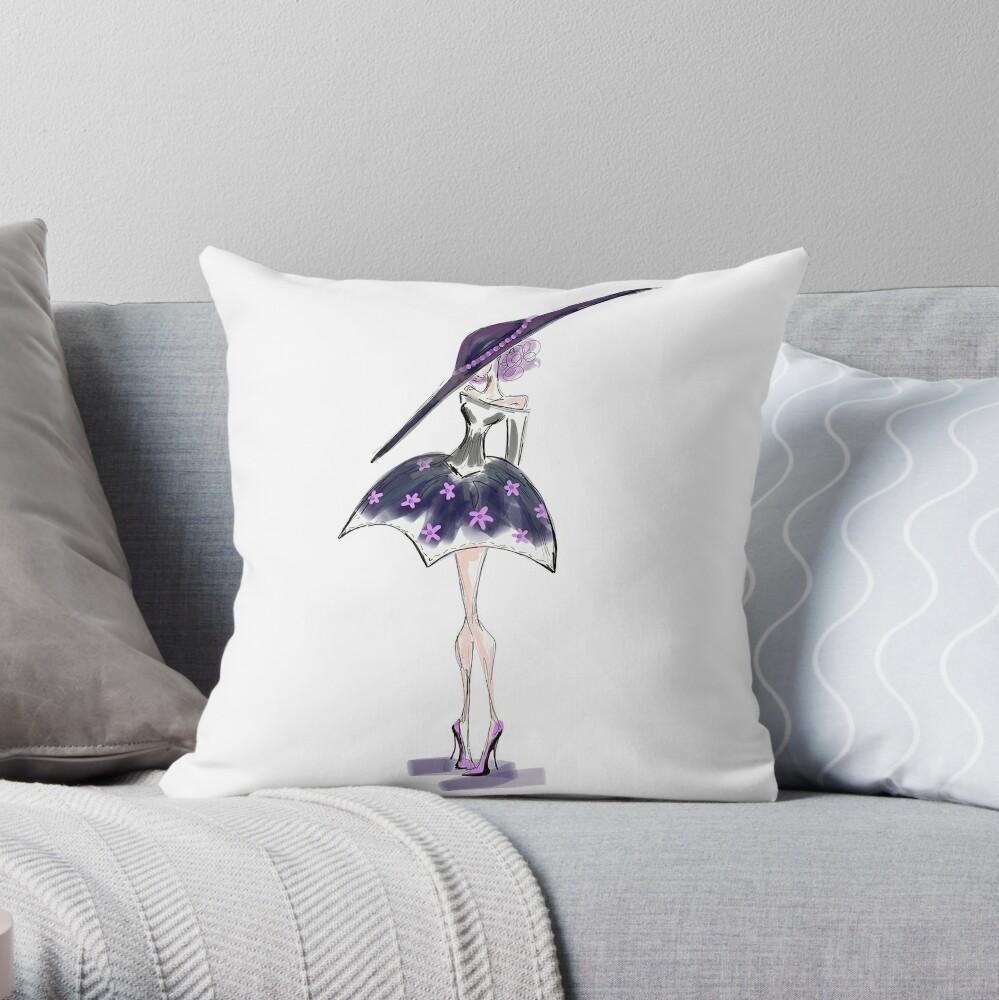 Purple Floral Dress Throw Pillow