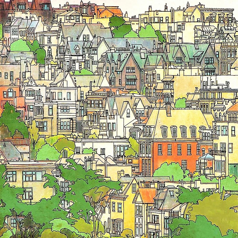 USA San Francisco California, Travel Destinations, Illustrative Art by Melody Koert