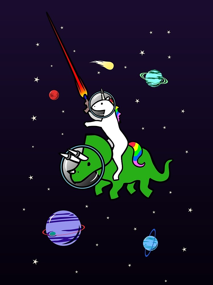 Unicorn Riding Triceratops In Space by jezkemp