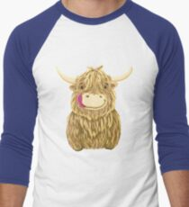 Cartoon Scottish Highland Cow Men's Baseball ¾ T-Shirt