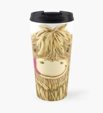 Cartoon Scottish Highland Cow Travel Mug
