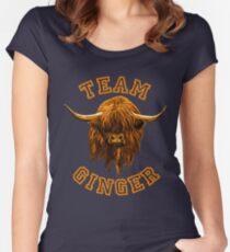 Mannschaft Ingwer-schottische Hochland-Kuh Tailliertes Rundhals-Shirt