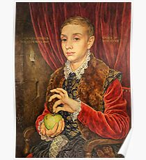 Boy With The Apple Painting  Poster