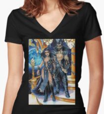 moon goddess and god of night Women's Fitted V-Neck T-Shirt
