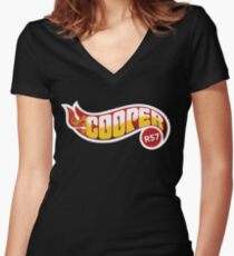 R57 Cooper Flames Women's Fitted V-Neck T-Shirt