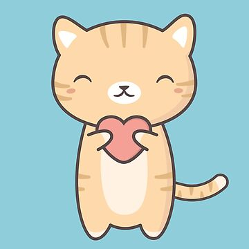 Kitten Cat With A Heart Is Kawaii  by happinessinatee