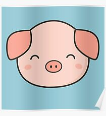 Kawaii Pig Digital Art Posters Redbubble