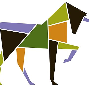 Geometric Unicorn - Modern Abstract  Animal Tangram Art by 26-Characters