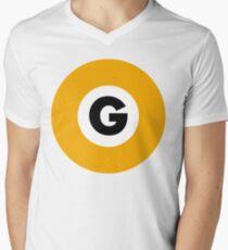 東京メトロ 銀座線ロゴ -Tokyo Metro Ginza Line logo- Men's V-Neck T-Shirt