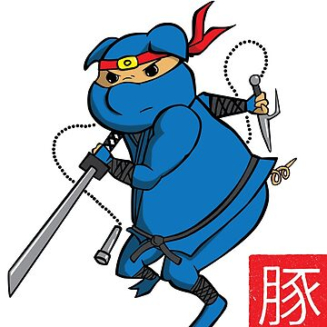 Fearsome Ninja Pig by mongreldesigns