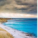 blue ocean with approaching rain by Angela Lisman-Photography