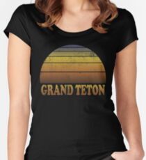Vintage Grand Teton  National Park Sunset  Women's Fitted Scoop T-Shirt