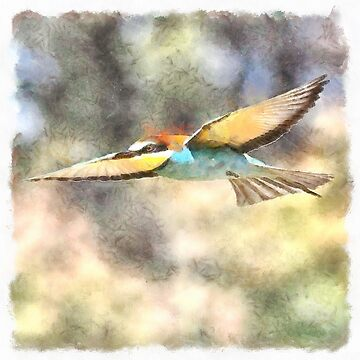 European Bee Eater In Flight Watercolor by taiche