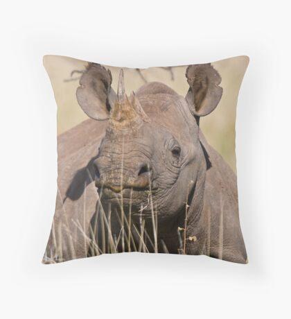 Black Rhino at Lewa Throw Pillow