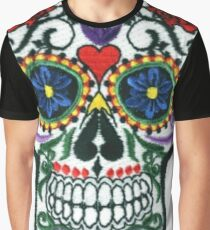 Sugar Skull Embroidered Patch Graphic T-Shirt