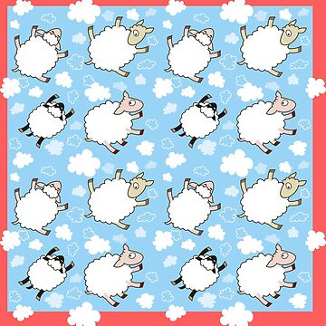 Seamless pattern with sheep flying in the blue sky by yolan
