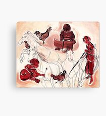 Children Playing Horses Chicken Composition Painting Canvas Print
