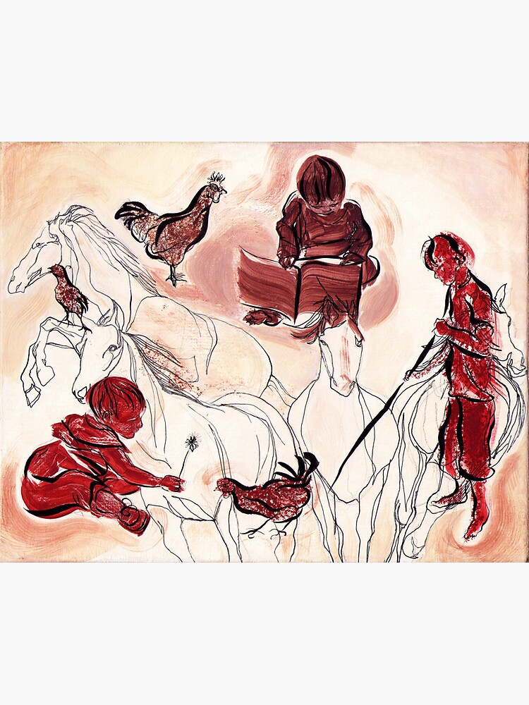 Children Playing Horses Chicken Composition Painting by CatarinaGarcia