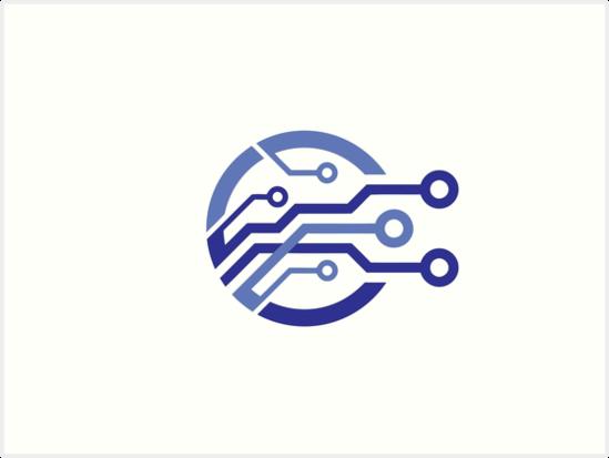 'electronic circuit logo' Art Print by circuitlove