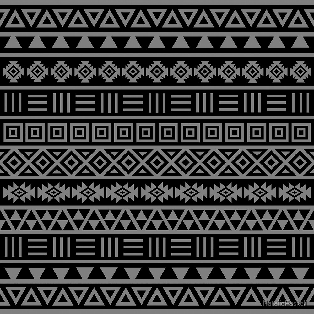Aztec Influence II Pattern Grey on Black by NataliePaskell