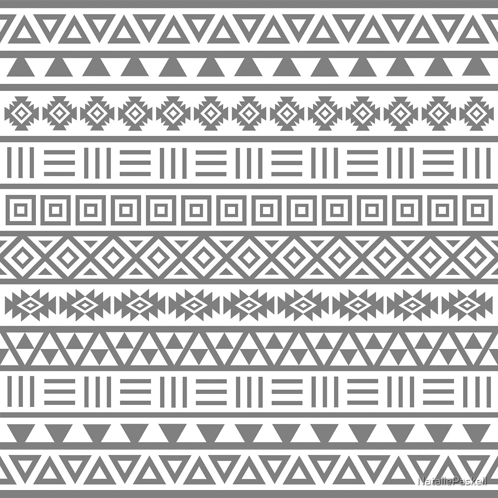 Aztec Influence II Pattern Grey on White by NataliePaskell