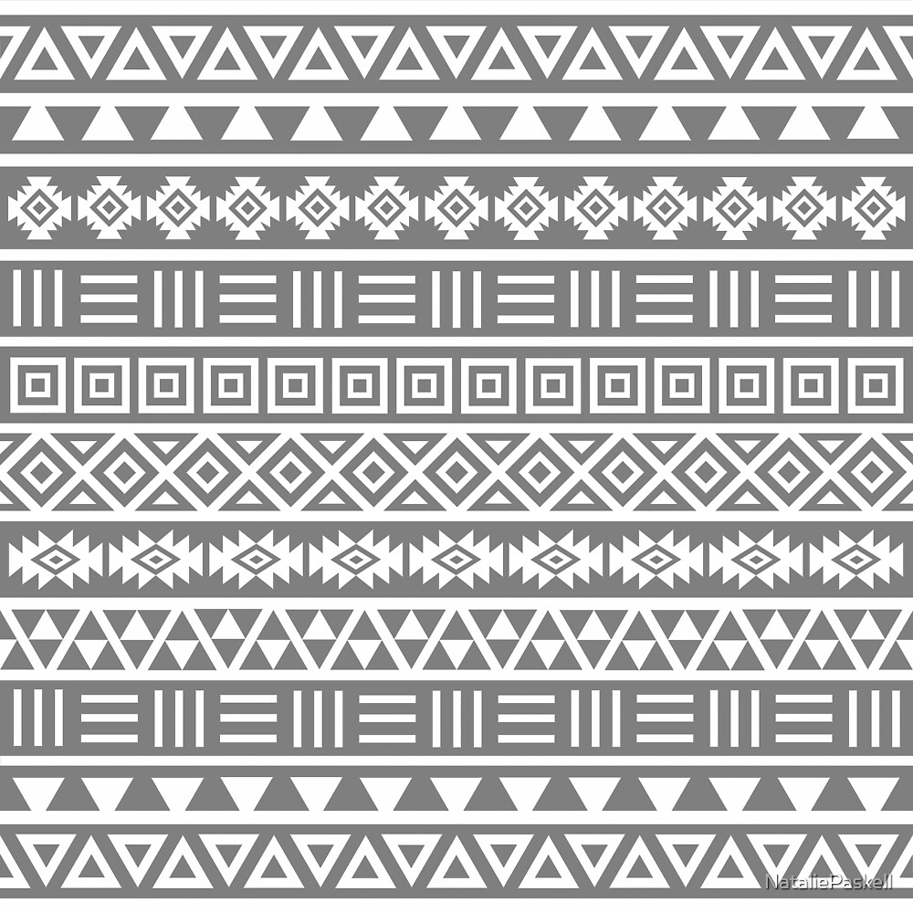 Aztec Influence II Pattern White on Grey by NataliePaskell