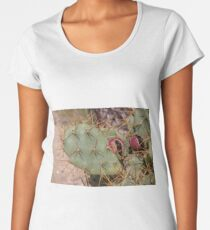 Opuntia prickly pear cactus with thorns and fruits, prickly close up Women's Premium T-Shirt