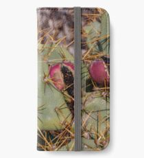 Opuntia prickly pear cactus with thorns and fruits, prickly close up iPhone Wallet/Case/Skin