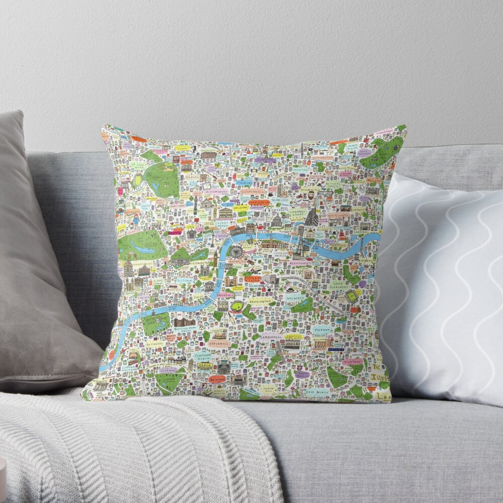 Germany, Ethnic, Cultural, Fun and Humor Cartoon City Map Throw Pillow