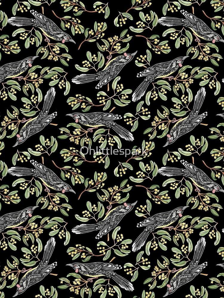 Lino Print - Wattle Bird by Ohlittlespark